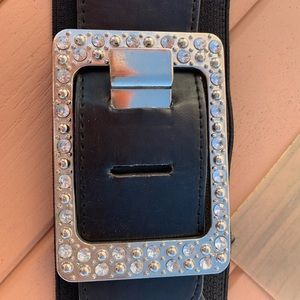 Bling buckle stretch belt